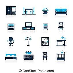 azur, icônes, //, meubles, série