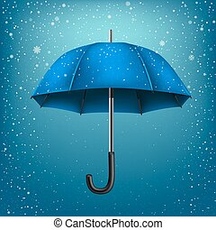 azur, parapluie, neige, fond