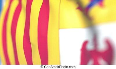 azur, région, drapeau, loopable, provence-alpes-cote, onduler, france., animation, gros plan, 3d