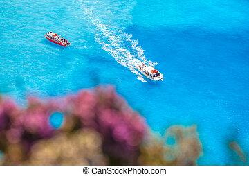 azure, barcos, flores, mar, contra