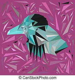 Azure bird in a frame of scattered purple triangles.
