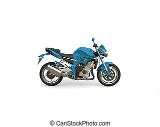 Azure blue modern sports motorcycle - side view