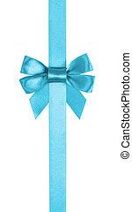 azure blue ribbon bow vertical border