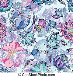 Azure Floral Vector Pattern - Seamless floral texture with...