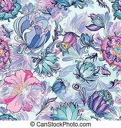 azure, floral, vetorial, padrão