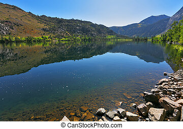 Azure lake Silver in autumn day