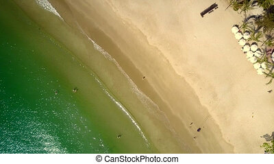 azure ocean waves wash golden beach - Amazing aerial...