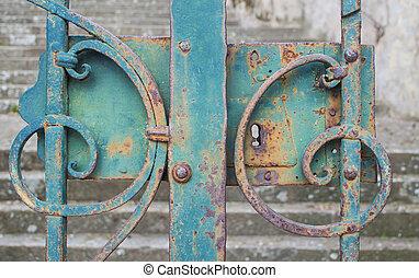 azure, portão, ferro, fechado