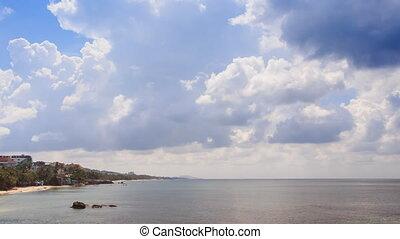 Azure Sea Bay Palm Trees on Coast Golden Sand Beach Blue Sky
