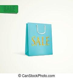 azure shopping bag. sale concept