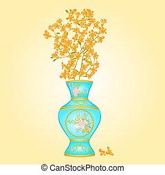 Azure vase with spring flowers Forsythia vector illustration