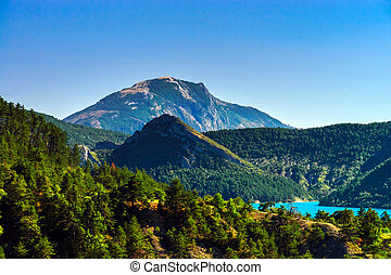 Azure water of Lac De La Castillon, Alps, France