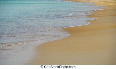 Azure waves rolled shore of Nai Harn Beach - Waves rolled on...