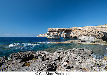 Azure Window natural arch on Gozo island Malta