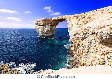 Azure Window on Gozo Malta thin bridge - Azure Window on...