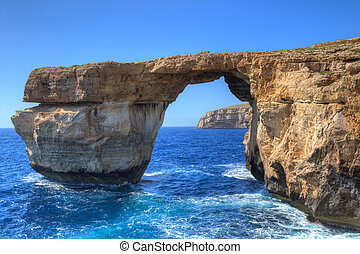 Azure Window, famous stone arch on Gozo island, Malta