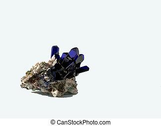 Photo of dark blue azurite crystals.