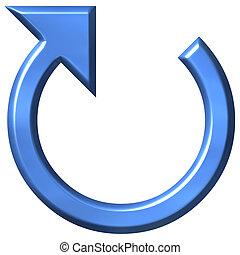 azzurro, 3d, freccia, circolare