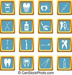 azzurro, cura dentale, icone