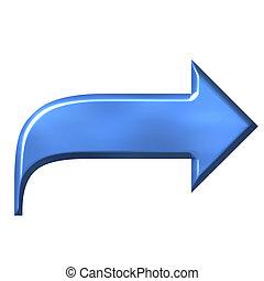 azzurro, freccia, 3d