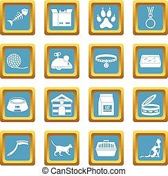 azzurro, gatto, cura, attrezzi, icone