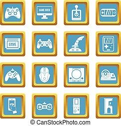 azzurro, gioco, video, icone