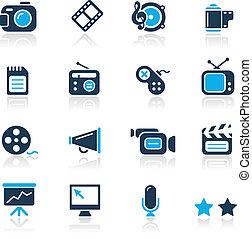azzurro, multimedia, /, icone