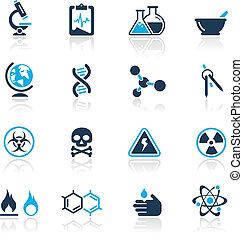 azzurro, scienza, /, icone