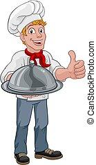 báň, vařit, majetek, voják, vrchní kuchař, karikatura, podnos