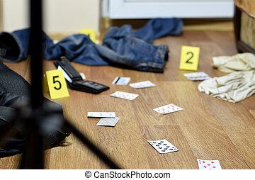bábu, apartment., levéltárca, sors, gyilkosság, evidences, után, játék, kutatás, színhely, -, szám, öltözék, bizonyíték, bűncselekmény, kártya