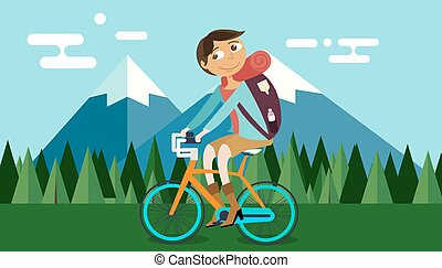 bábu elnyomott bicikli, bicikli, alatt, természet, hegy, erdő, háttér, vektor, ábra