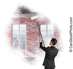 bábu festmény, ablak