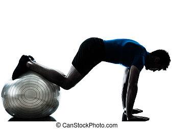 bábu gyakorlás, tréning, alkalmasság labda, testtartás