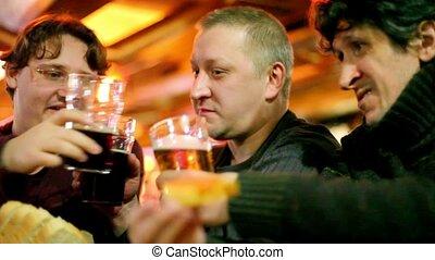 bábu, ital, három, sör, csörgés szemüveg