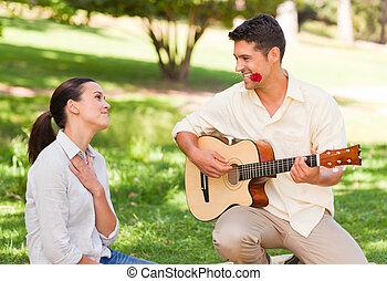 bábu játék gitár, helyett, övé, barátnő