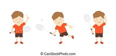bádminton, jugador, hombre, acción, conjunto, aislado, blanco, plano de fondo