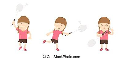 bádminton, jugador, mujer, acción, conjunto, aislado, blanco, plano de fondo