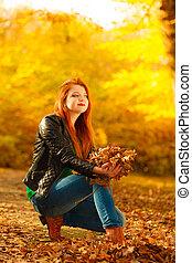 bágyasztó, dobás, zöld, liget, feláll, levegő., ősz, leány