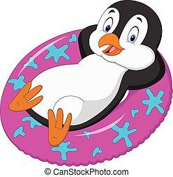bágyasztó, felfújható gyűrű, hím, karikatúra, pingvin
