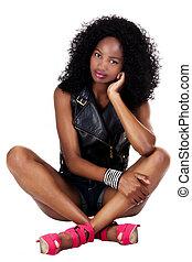 bájos, african american woman, ülés, alatt, nadrág