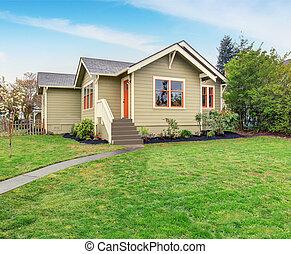 bájos, amerikai, otthon, lawn., fű, megtöltött