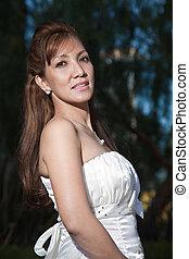 bájos, asian filipino, menyasszony, alatt, talár
