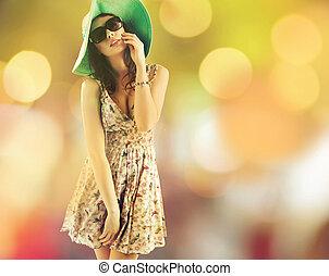 bájos, barna nő, nő, közben, a, csípős, nyár nap