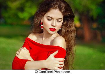 bájos, gyönyörű, leány, noha, mód, fülbevaló, fárasztó, alatt, piros, orvos