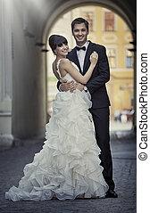 bájos, házasság, párosít, szerelemben, póz