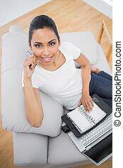 bájos, kényelmes, woman hatalom, neki, napló, és, jegyzetfüzet