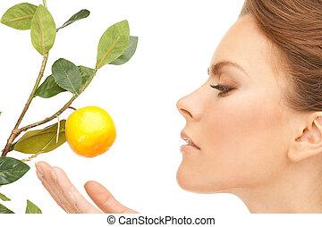 bájos, nő, gally, citrom