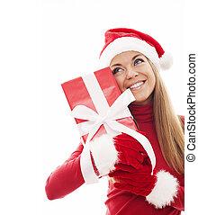 bájos, nő, noha, karácsonyi ajándék, doboz