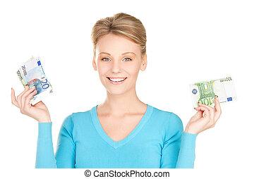 bájos, nő, noha, pénz