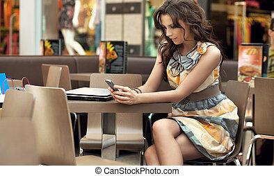 bájos, nő, várakozás, helyett, valaki, -ban, a, étterem, asztal